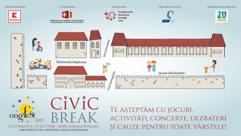 """Clujenii sunt invitați sâmbătă într-un """"Civic Break"""" la ONGFest!"""