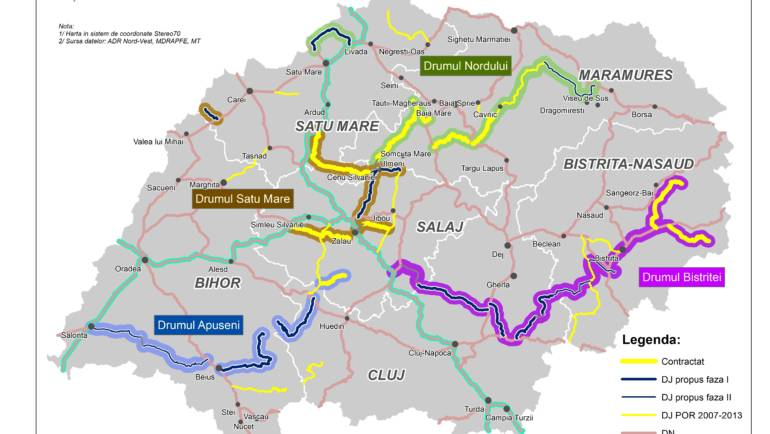Harta infrastructurii rutiere judetene finantate prin REGIO