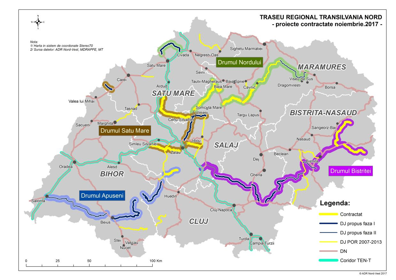 Harta Infrastructurii Rutiere Judetene Finantate Prin Regio Adr
